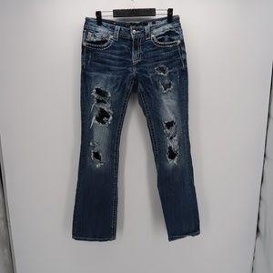 Miss Me Dark Wash Boot Cut Distressed Denim Jeans